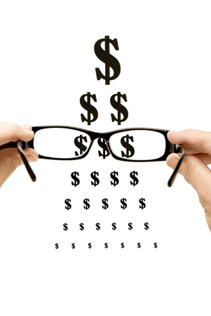 wearer: Needing eye care can be very expensive   Here is a wearer looking through the lenses and seeing dollar signs   White background