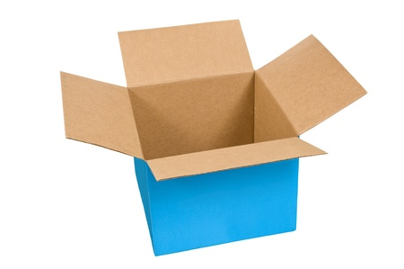 Empty blue cardboard box that has a wide width and short sides   Isolated on white   Studio shot