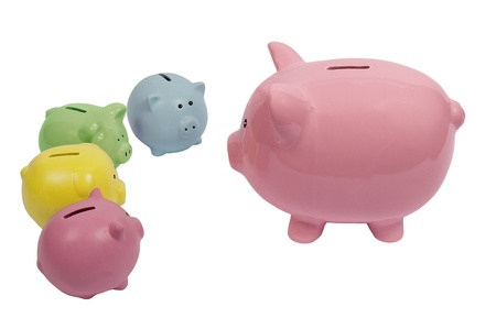Piggy parent discusses finances with their children Stock Photo - 17109499