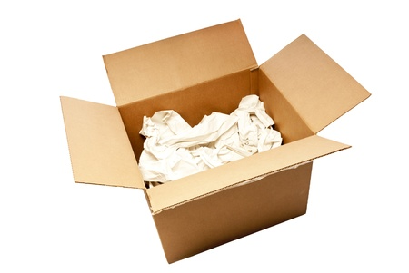 Nice big cardboard box with packing paper opened up  Stock Photo - 17109504