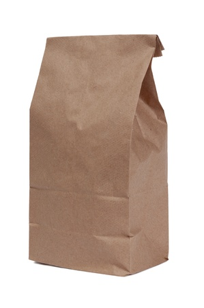 paper container: This shows a brown paper lunch bag and lots of copy space to show your own message if you like  Isolated on white  Studio shot   Stock Photo