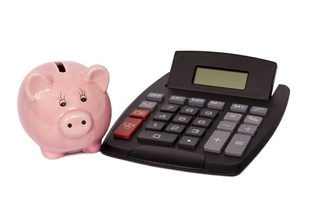 Pink piggy bank with digital calculator  Isolated on white  Studio shot   photo