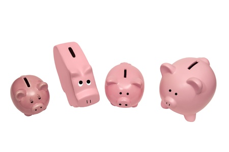This picture shows different kinds of piggy banks  Isolated on white Stock Photo - 17109497