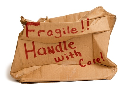 xxxl: Fragile Brown Box Crushed XXXL Stock Photo