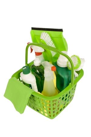 Green Cleaning Supplies Shot op een hoek