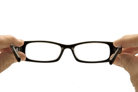 wearer: Looking through a pair of eyeglasses from the wearer s perspective   Stock Photo