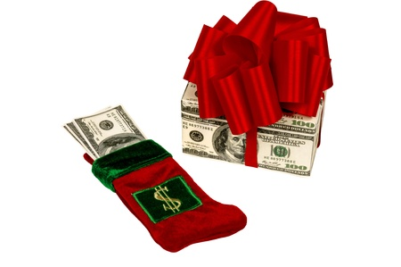 Two ways to give money as a Christmas present.  Stuff a stocking or make the Christmas present out of money. photo