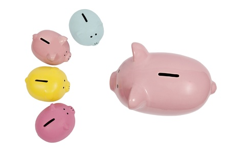 Piggy parent discusses finances with their children Stock Photo - 17223520