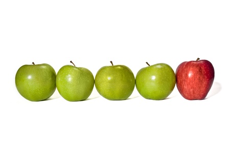 Row of green apples with a red apple at the end   Great concept for the odd man out   Kind of like standing out from the rest