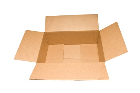Empty cardboard box that has a wide width and short sides   Isolated on white   Studio shot  Stock Photo - 17223579