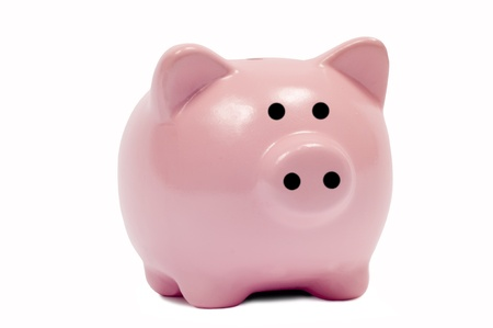 A cute pink piggy bank ready to hold your savings   Can be used in a variety of financial pictures  Stock Photo - 17223533