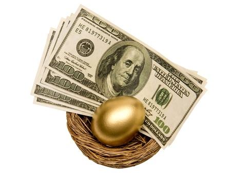retirement nest egg: Golden Egg And Money In Nest Isolated On White