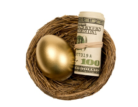 accrue: Golden Egg With Roll Of Money In Nest Isolated On White