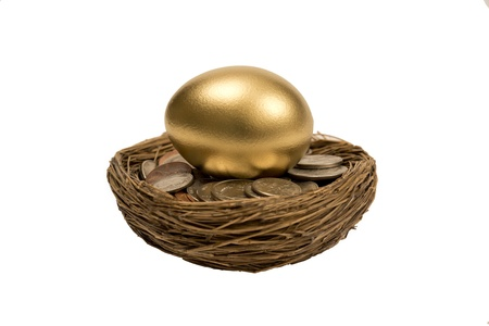 accrue: Golden Nest Egg Laying On Coins Isolated On White