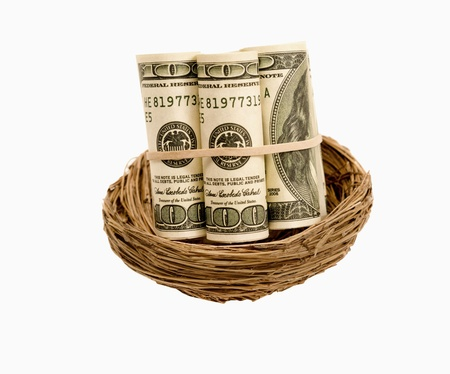 accrue: Rolls Of Money In Nest Isolated On White Stock Photo