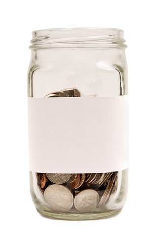 Coins In Jar With Blank Label XXXL Isolated On White Stock Photo - 17926492