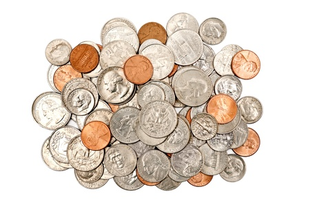 pennies: Pile Of Coins XXXL Isolated On White