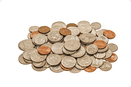 Dirty And Worn Coins In A Pile XXXL and Isolated On White Stock Photo - 18135430