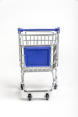 Miniature Grocery Cart With Blank Sign Area On Front photo