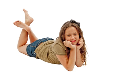 Girl Posing And Smiling Isolated
