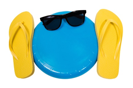 flying disc: Flip Flops Flying disc And Sunglasses Copy Space Isolated On White