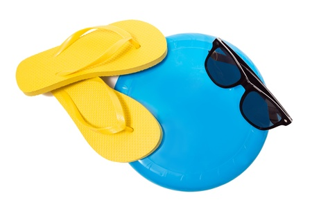 Thongs And Flying disc And Sunglasses Isolated On White photo