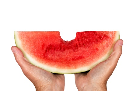 Big Slice Of Watermelon With A Bite Out Of It Stock Photo