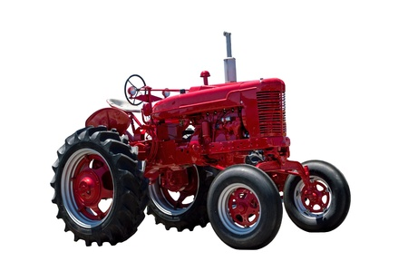 old tractors: Big Red Farm Tractor Isolated On White
