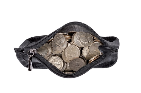 Coin Purse Full Of Coins Overhead Shot