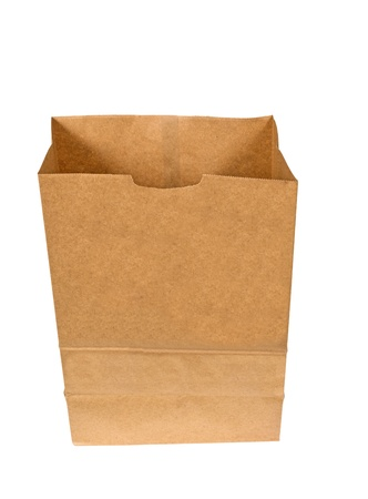 Opened Brown Bag Isolated On White Background Stock Photo