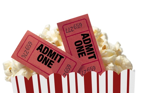 Popcorn With Movie Tickets Movie Night Isolated On White
