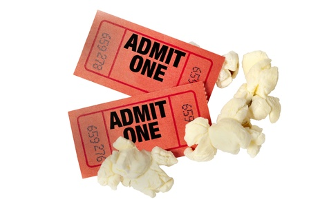 admit one: Red Movie Tickets And Popcorn Isolated On White Background