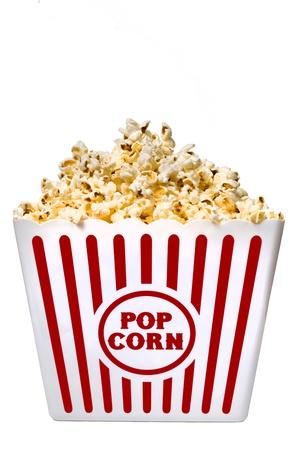 Big Tub Of Popcorn Isolated On White Background Stock Photo