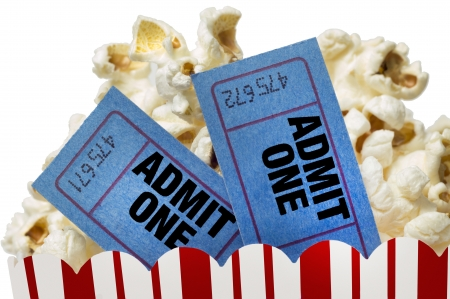 Movie Tickets And Popcorn Isolated On White Background