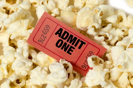 Popcorn With Red Movie Ticket Stock Photo