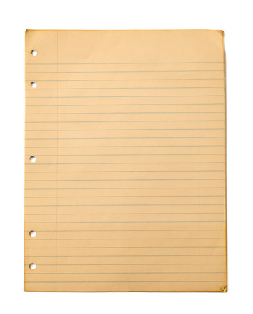 Vintage Ruled Paper Isolated on White Vertical Shot photo