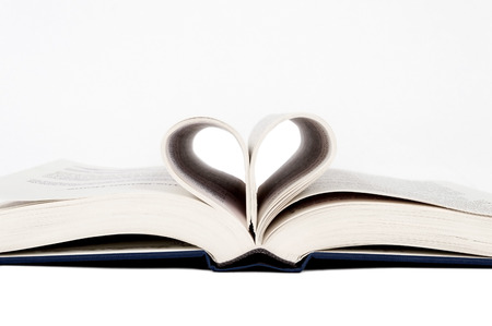 Love To Read  Heart Shape In Book  Horizontal  Isolated On White photo