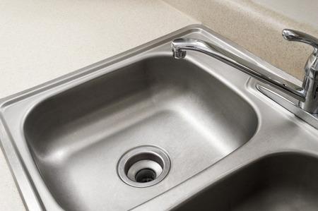 sink drain: Empty Stainless Steel Sink Stock Photo