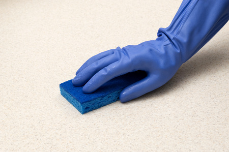 Rubber Gloved Hand With Sponge Copy Space