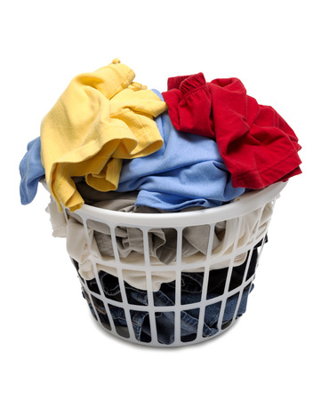 Laundry Basket Full Of Clothes Shot On Angle Isolated On White