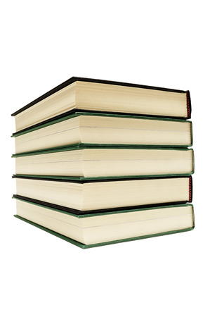 bibliomania: Hardcover Books Stacked Isolated Focus On Front Stock Photo
