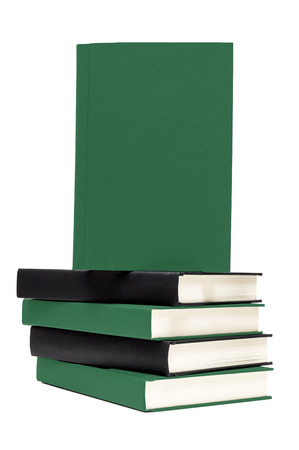 bibliomania: Stack Of Books With Front Cover For Copy Space Isolated Stock Photo