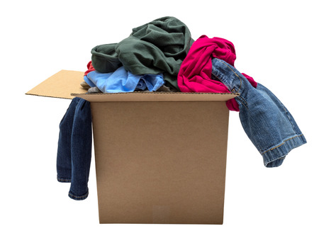 Box Of Clothing Isolated On White Focus On Front photo