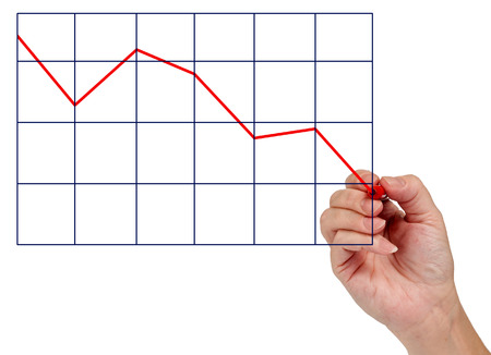 and decline: Hand Drawing A Decline In Business Or Other Concept