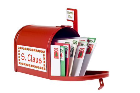 Santa Claus Receives Christmas Letters Stock Photo