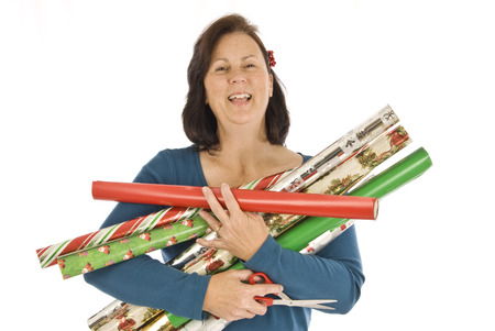 Cheerful Gift Wrapper Stock Photo