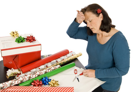 Middle Aged Woman With Holiday Stress Stock Photo