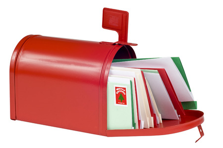 Blank Red Mail Box Filled With Colorful Christmas Cards photo