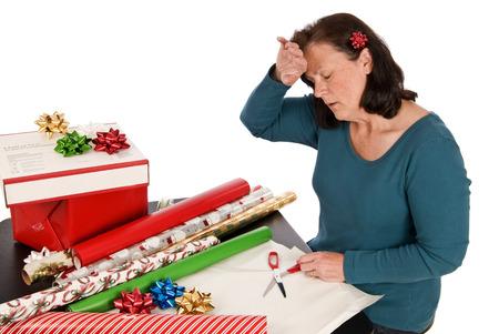 holiday stress: Holiday Stress Woman Stress Over Holidays Stock Photo