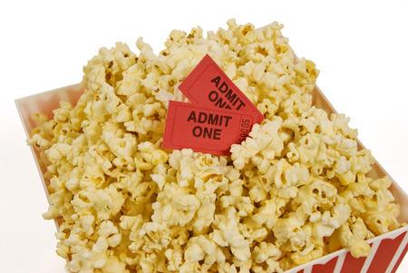 olden day: Popcorn Bucket With Movie Tickets